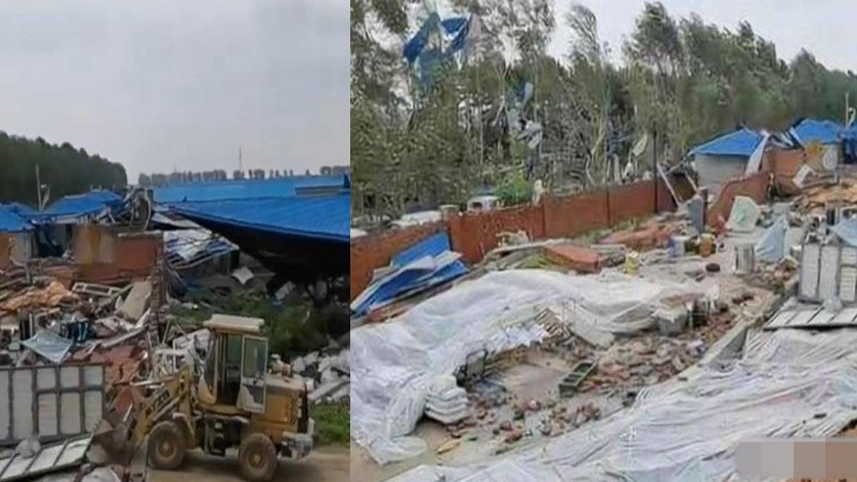 圖為黑龍江綏化北林區西部地區一些鄉鎮2020年8月9日12點左右遭遇龍捲風襲擊後的慘狀。(影片截圖)
