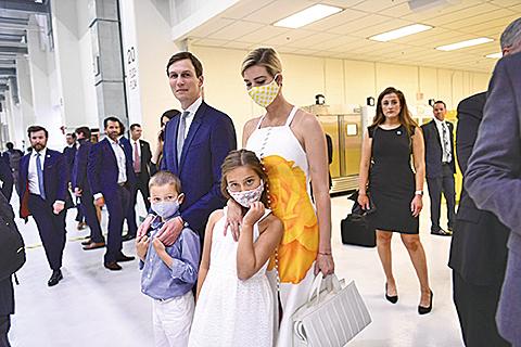 庫什納和伊萬卡及他們的兩個子女。(AFP)