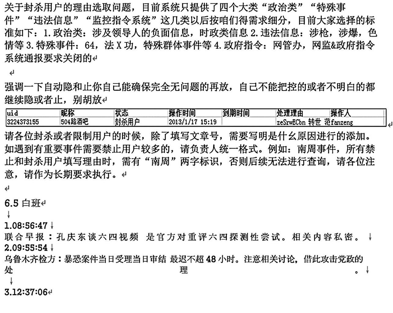 2014年6月5日新浪微博審核日誌部份。(劉力朋提供)