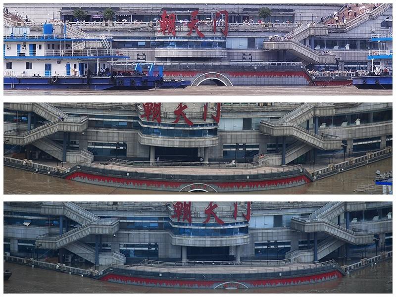 18日鄰近中午、下午、及傍晚6點時,重慶主城區遭遇長江5號洪水和嘉陵江2號洪水後的重慶朝天門被淹的情況。(大紀元合成圖)
