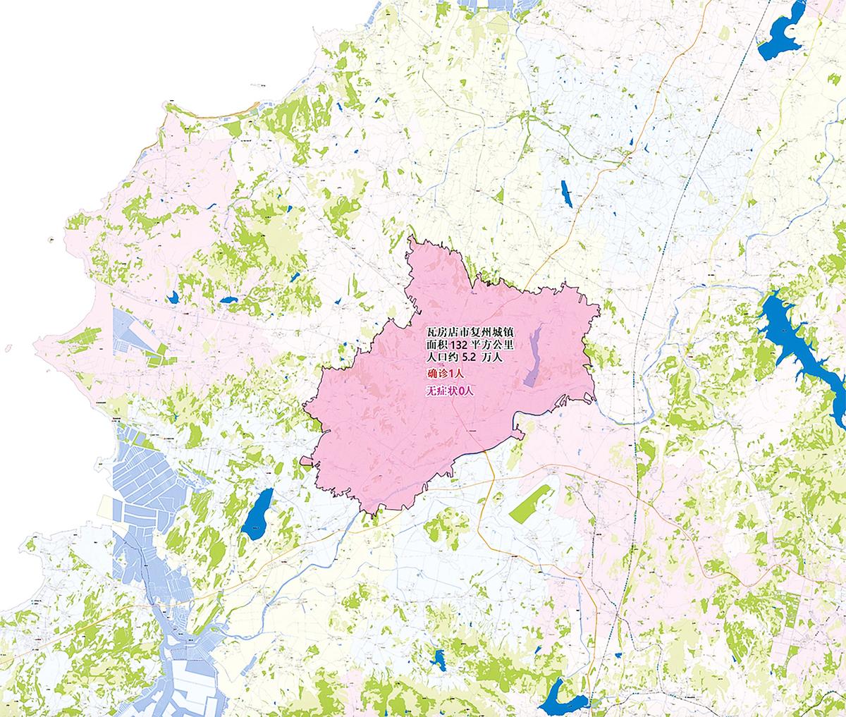 大連瓦房店市復興城鎮, 7月28日的疫情分布截圖。(大紀元)