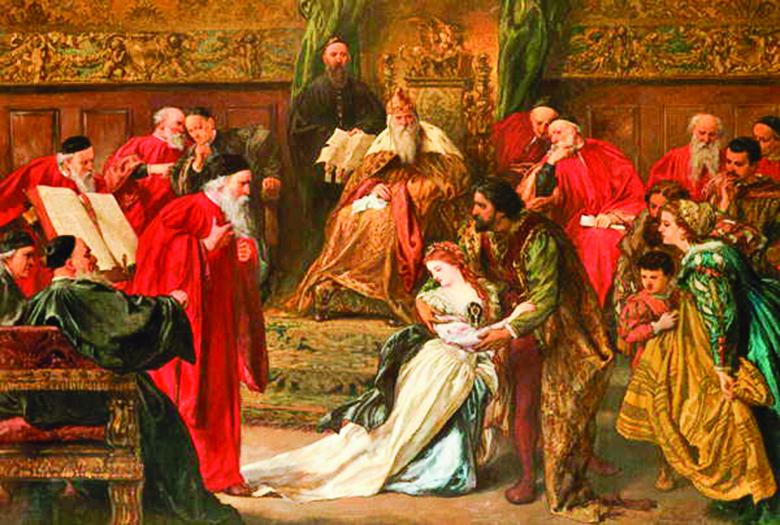 約翰吉爾伯特爵士(Sir John Gilbert)1873年繪製的《在李爾王朝宮廷中的蔻蒂莉亞》(Cordelia in the Court of King Lear )。(公有領域)