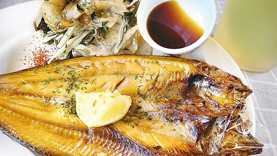 燒焗日本海魚「一夜干」配舞茸海藻豆腐沙律。(Kitchen Madlic提供)