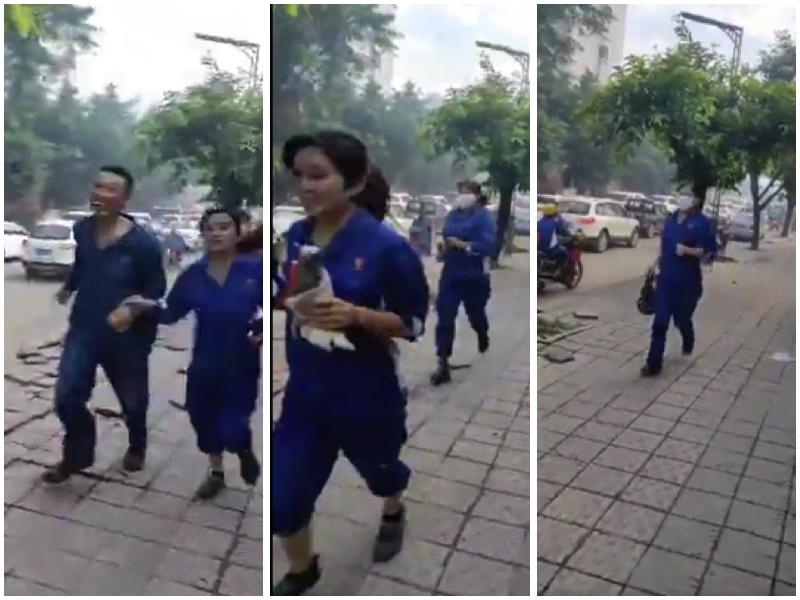 四川樂山一家化工廠洩漏,附近居民出逃。(視頻截圖大紀元合成)