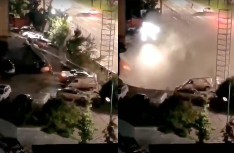 8月19日凌晨,四川省宜賓市銀龍廣場前的路面突然發生大面積塌陷,21輛汽車瞬間掉入巨坑。(大紀元合成圖)