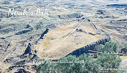 被認為是諾亞方舟遺蹟的空拍圖。(官方圖片)