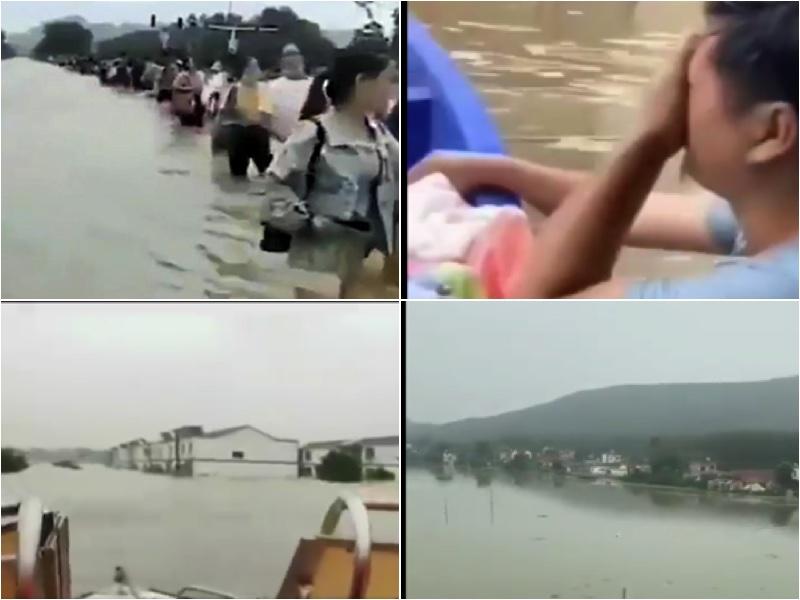 安徽「上保河南、下保江蘇」扛下一切,安徽王家壩蓄洪量3天相當於26個西湖的年儲水量。(影片截圖合成)