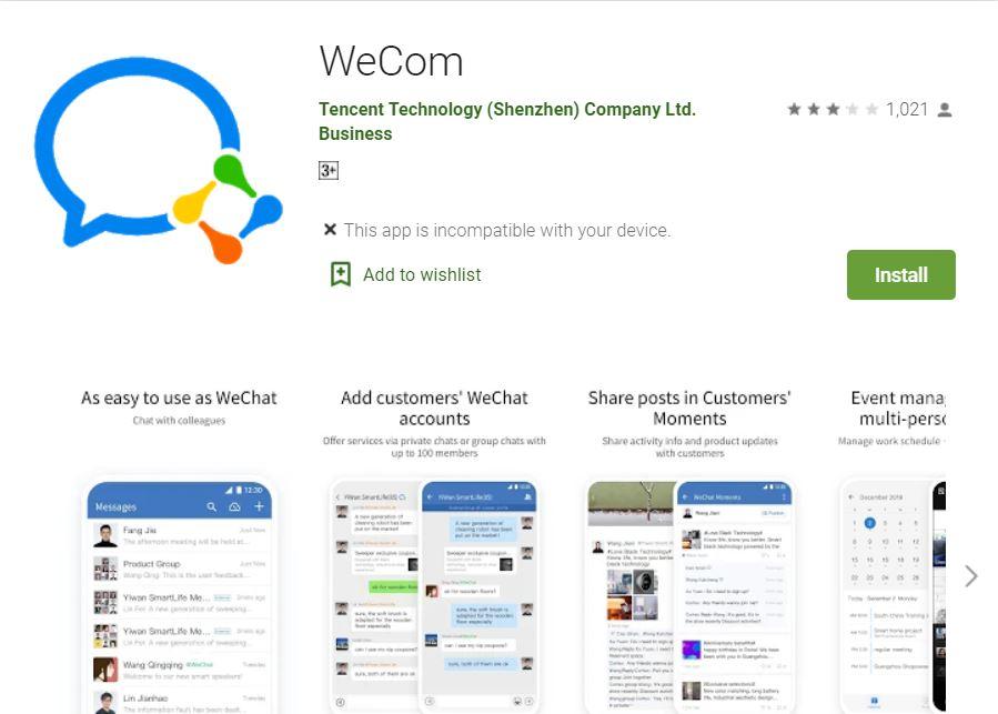 騰訊悄悄地把企業微信海外版WeChat Work,改成了WeCom。圖為8月24日搜索WeChat Work時,谷歌應用商店會跳出更改後的名字WeCom。(網絡截圖/Google Play)
