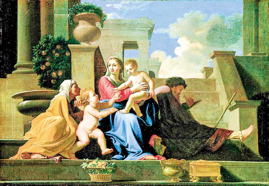 尼古拉·普桑1648年的作品《石階上的聖家族》(The Holy Family on the Steps),美國克利夫蘭藝術博物館收藏。(公有領域)
