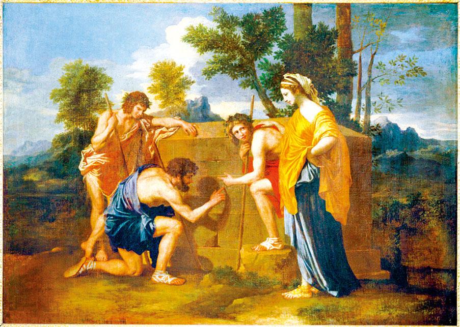 尼古拉·普桑1637年~1638年的作品《阿卡迪亞自我》(Et in Arcadia Ego)。巴黎羅浮宮收藏。(公有領域)