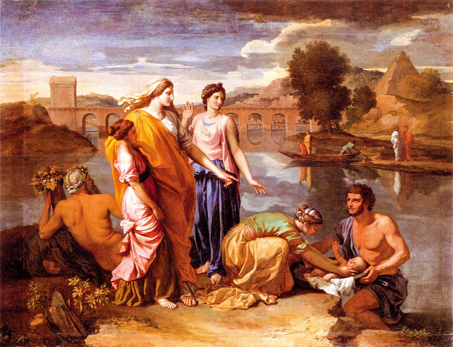 1638年作品《摩西從河中得救》(Moses Saved from the River) 。(公有領域)