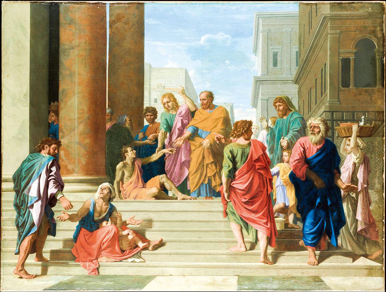 尼古拉•普桑1655年的作品《聖彼得和約翰正治療跛腳男子》(Saints Peter and John Healing the Lame Man),紐約大都會藝術博物館收藏。(公有領域)
