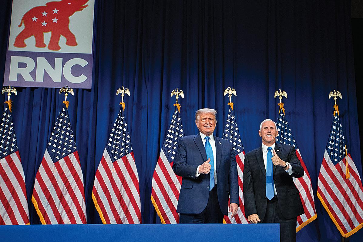 周一(8月24日),共和黨全國代表大會表決通過提名美國總統特朗普和副總統彭斯為2020年共和黨總統和副總統候選人。(AFP)