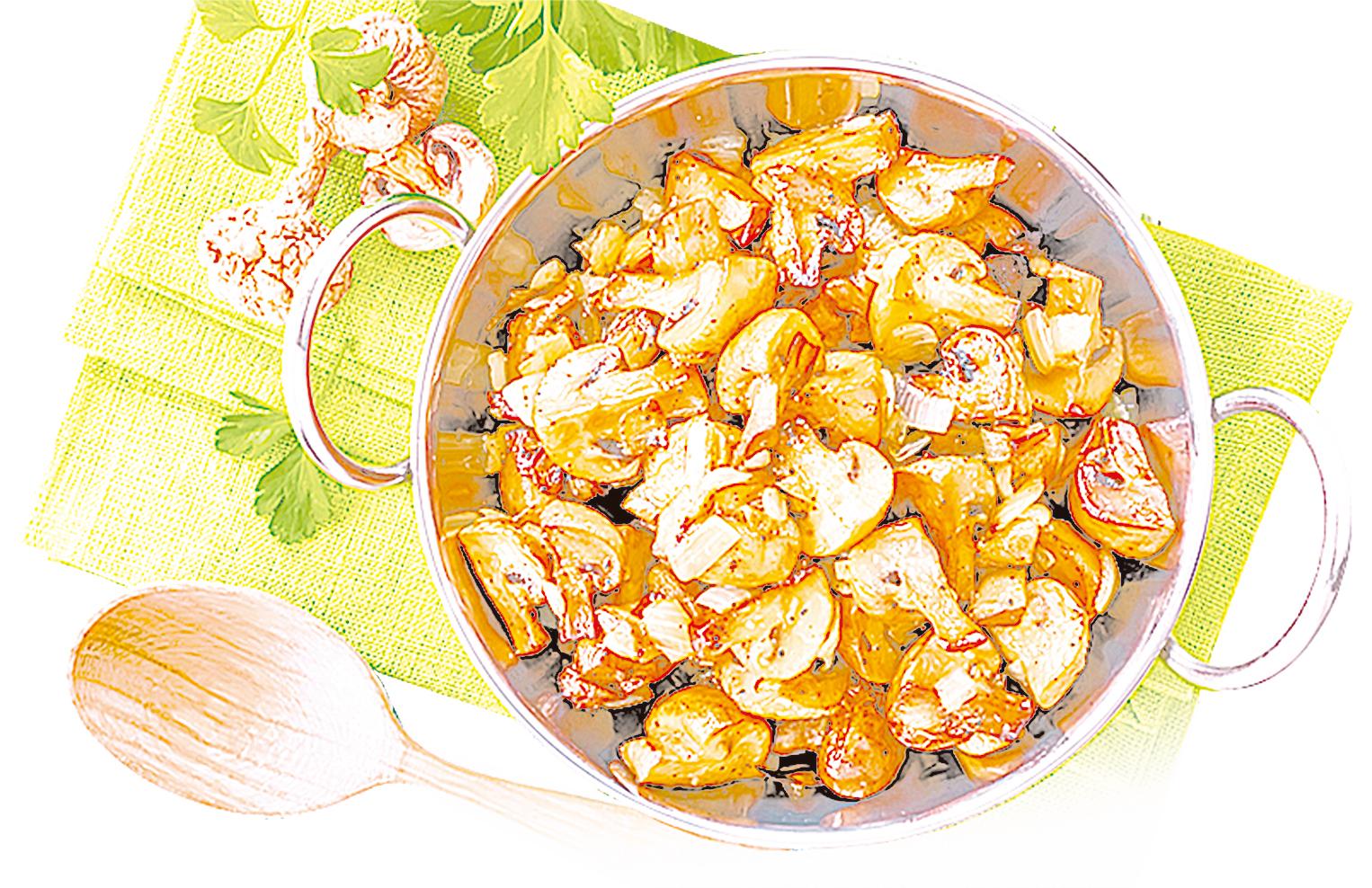洋蔥和蘑菇炒在一起味道非常適合。