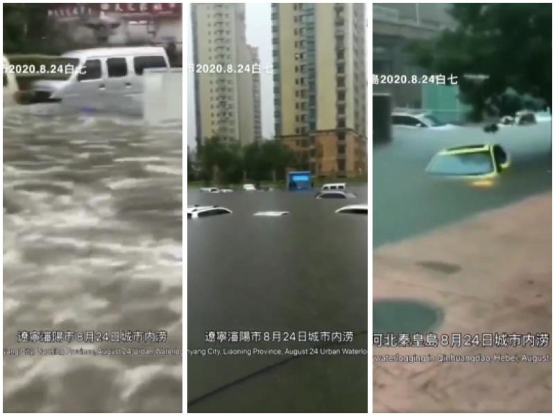 24日瀋陽市遭特大暴雨襲擊,造成嚴重內澇,許多地段街道的積水達1米多深,很多車子泡水,全市交通癱瘓,同天河北省秦皇島市也是同樣暴雨,造成嚴重內澇。(視頻截圖)