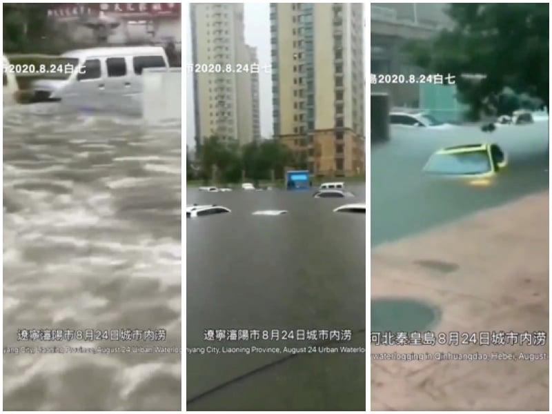 颱風襲擊中國北方 多地大暴雨 汽車遭沒頂