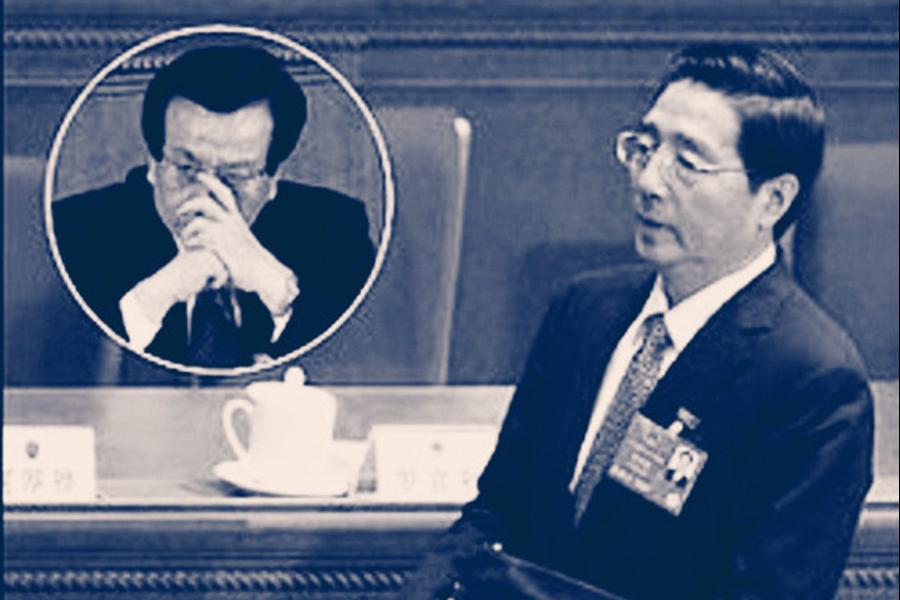 政法系統清洗風暴仍在發酵,江澤民集團二號人物曾慶紅(左)馬仔郭聲琨首當其衝。(網絡圖片)