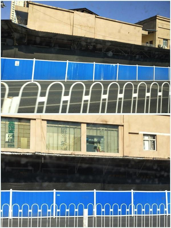 原華南海鮮市場現在無法辨識,被藍色外牆與外界隔絕,裏面再用黑布遮住主體建築物。(受訪者提供 大紀元合成)