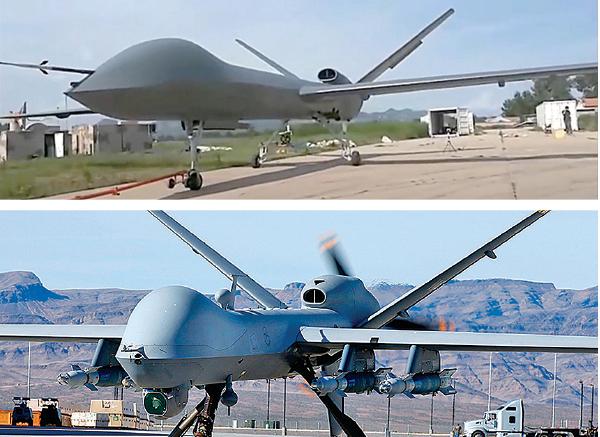 中國產的彩虹-5 無人機(上)在外形上與美國產的MQ-9「死神」無人機(下)十分相似,引發彩虹-5 抄襲MQ-9 的爭議。(影片截圖/AFP)