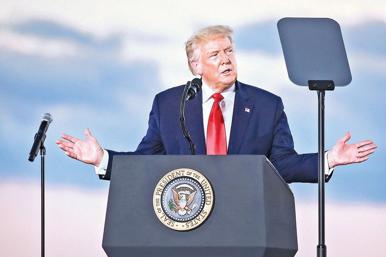 特朗普星期五晚間在新罕布什爾州舉行競選集會。(Getty Images)