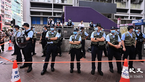 【圖片新聞】8.31事件一周年 警方在太子站祭壇外設封鎖線戒備