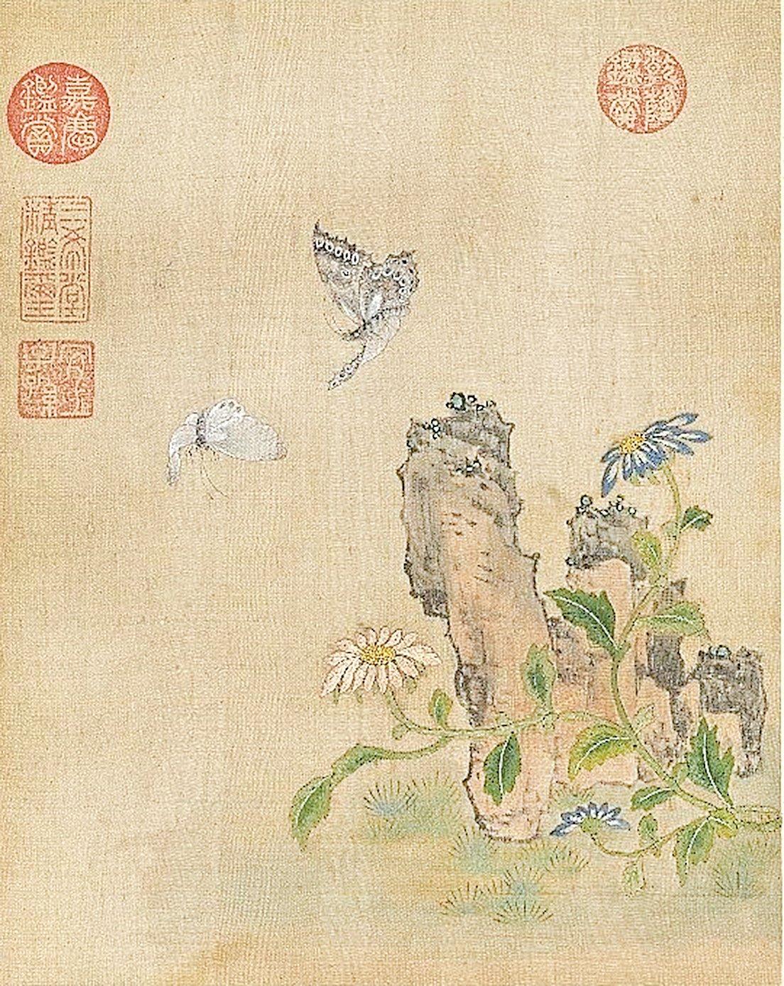清‧繡繪花鳥冊《菊花飛蝶》(公有領域)