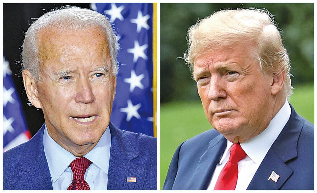 圖為民主黨總統候選人拜登(左)及共和黨總統候選人特朗普(右)兩人之資料照。(AFP)(The Epoch Times)