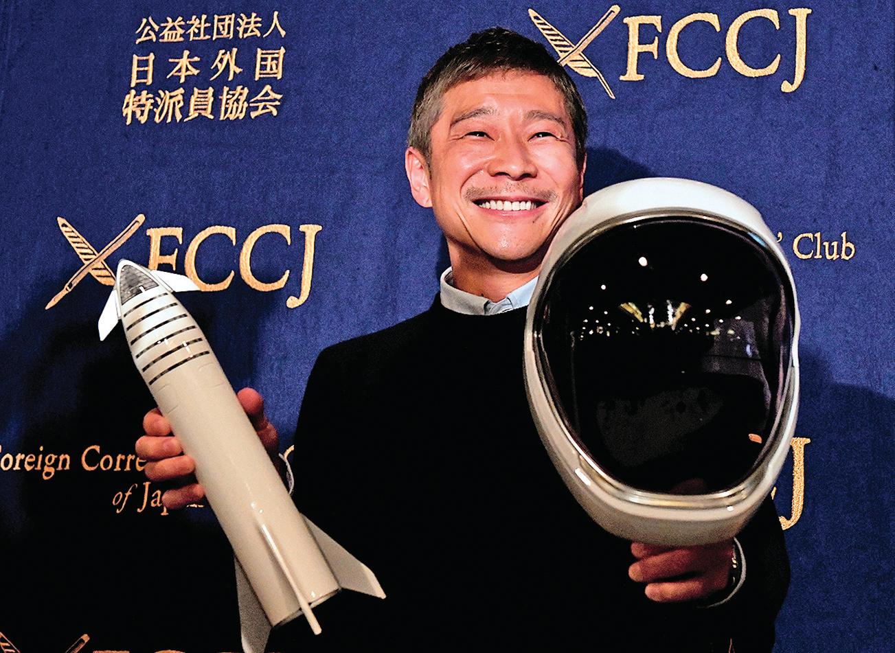 日本億萬富翁前澤友作2018年成為SpaceX簽約的第一位繞月飛行太空乘客。(AFP)