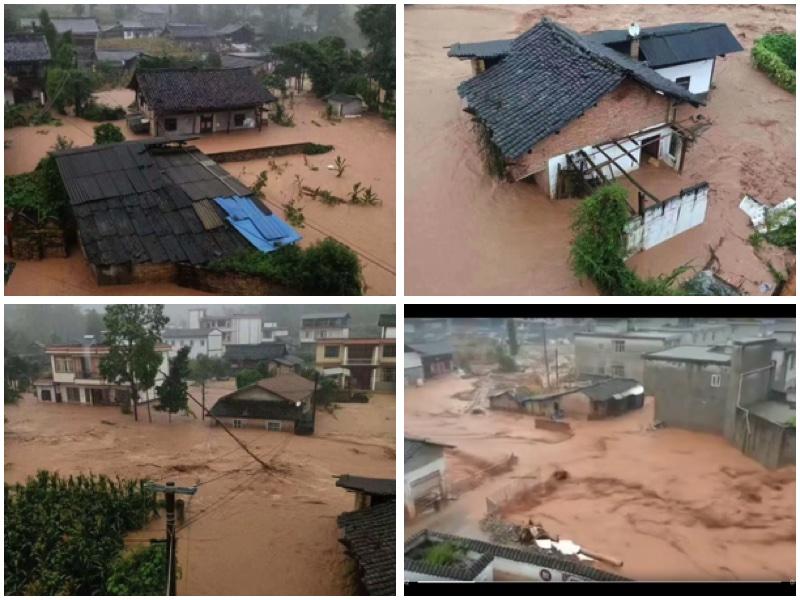 8月29日夜間至30日,雅安市北部普降大暴雨,部份鄉鎮出現山泥傾瀉、泥石流、洪水、內澇等災情。(受訪者提供)