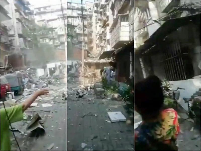 四川宜昌天然氣管爆炸導致民房被毀、市民受傷。(視頻截圖)
