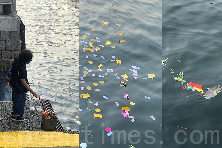 今年由於武漢肺炎疫情和政府「限聚令」,香港仔樂善堂取消了盂蘭勝會的水上巡遊,主要是在岸邊簡單進行一些儀式。(受訪者提供)