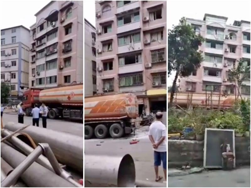重慶南岸區一油罐車修理中因操作不當引起爆炸,導致附近居民樓窗玻璃被震碎。(大紀元)