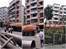 重慶南岸區一油罐車爆炸 附近居民樓玻璃窗被震碎