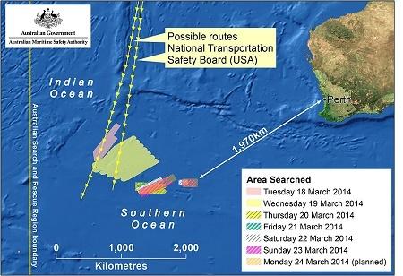 擬定的馬航MH370搜索區域。(AMSA via Getty Images)