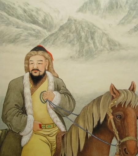 鐵木真,於1206年春天登基時,被諸王和群臣上蒙語尊號成吉思汗。(王雙寬製圖/大紀元)