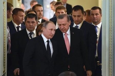 周二(8月9日)土耳其總統埃爾多安在俄羅斯聖彼德堡會晤了俄總統普京,試圖修補雙邊關係。(AFP/Getty Images)