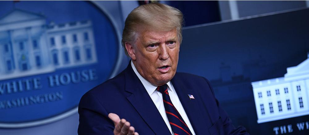 美國總統特朗普在9月4日的白宮記者會上說,《大西洋》(The Atlantic)3日的報道是假新聞。(AFP)