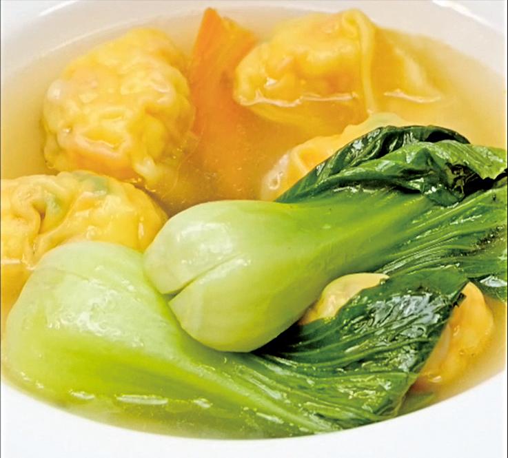 鮮甜清爽的鮮蝦餛飩湯。