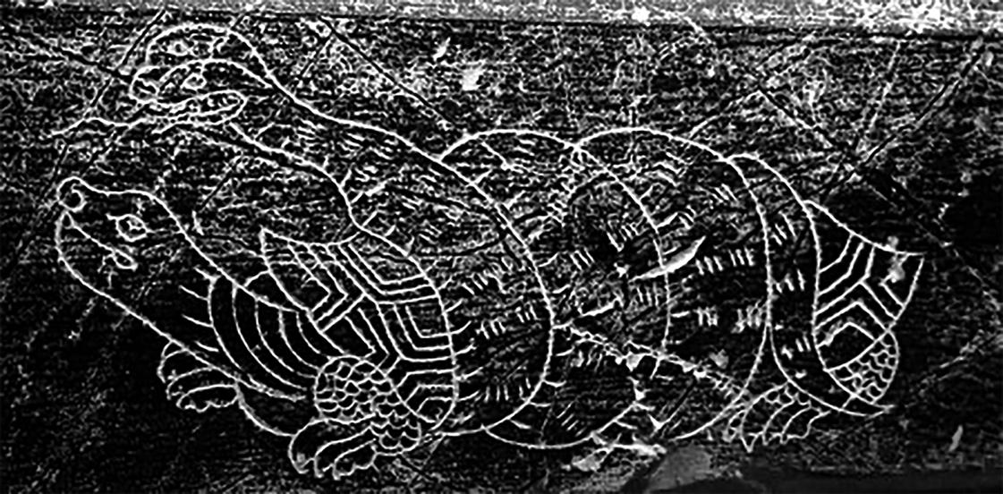 唐墓誌蓋石線刻玄武(三獵/公有領域)