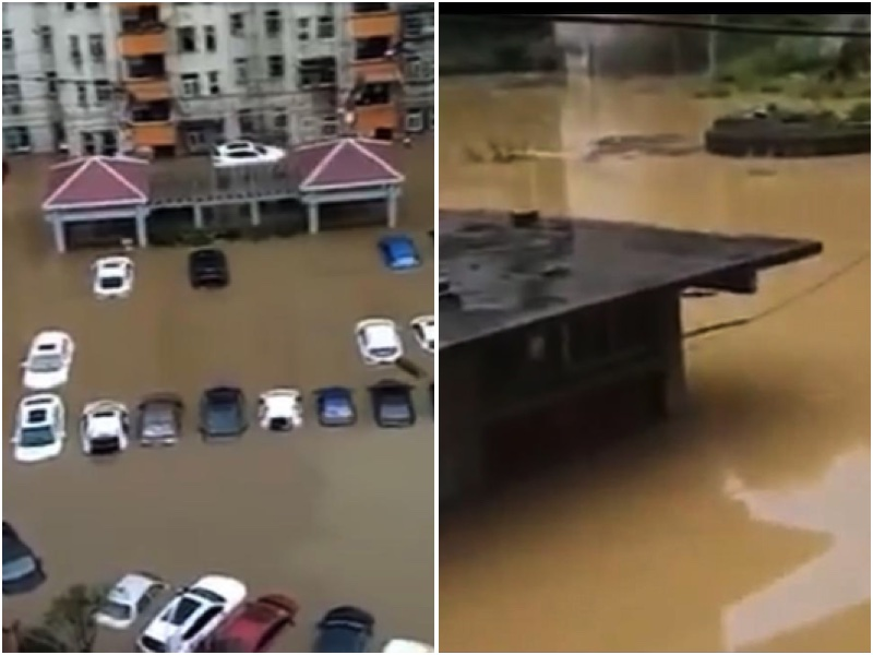 9月5日,貴州省六枝特區下了一夜特大暴雨,當地民眾稱是幾十年來最大一次。城區部份地區水深超過1.6米。(視像截圖大紀元合成)