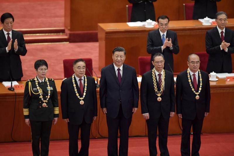 9月8日上午,中共當局在北京大會堂舉行抗疫表彰大會。(NICOLAS ASFOURI/AFP via Getty Images)