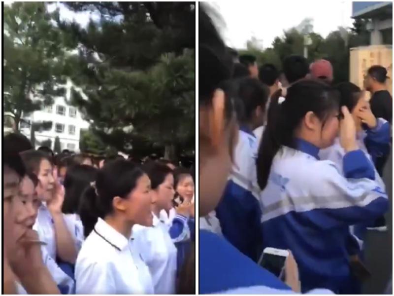 內蒙古中學學生不滿中共加強漢語教學,準備離開學校,走上街頭抗議。(影片截圖)