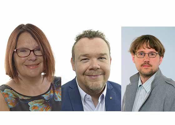 從左到右:瑞典國會議員洛塔約翰遜福納爾維(Lotta Johnsson Fornarve)女士、歐盟議員大衛萊加(David Lega)先生、瑞典議員尼古拉斯馬爾姆伯格(Niclas Malmberg)先生。(明慧網)