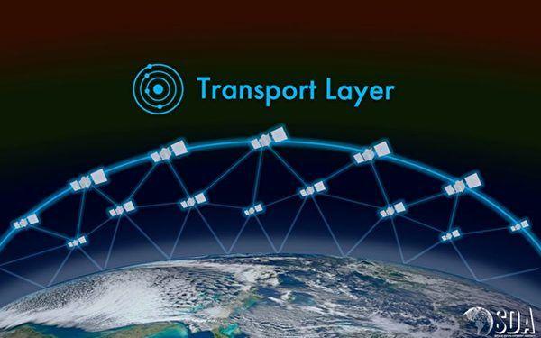作為美軍大型太空戰略目標中的一部份,美軍太空發展局計劃在地球上空的「傳輸層」,在2024年以前建成一個擁有數百顆衛星的群陣系統,作為太空通信的樞紐。圖為傳輸層示意圖。(US Space Development Agency)