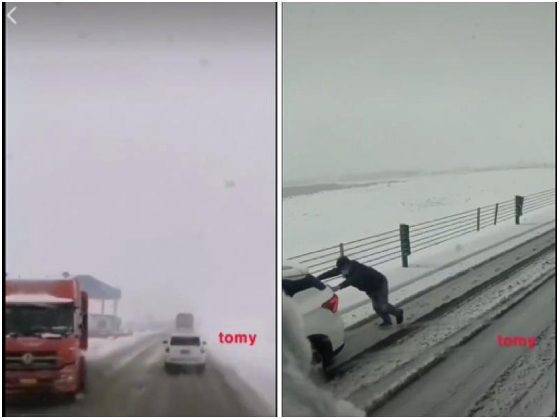 9月11日新疆下鵝毛大雪,地上積雪一度導致車輛停駛。(視頻截圖)