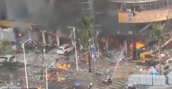 9月11日,珠海一酒店發生爆炸(網絡視頻截圖)