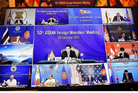 9月9日,第53屆東盟外長會議開幕。由於中共病毒的影響,今年的會議以視像形式舉行。(AFP)