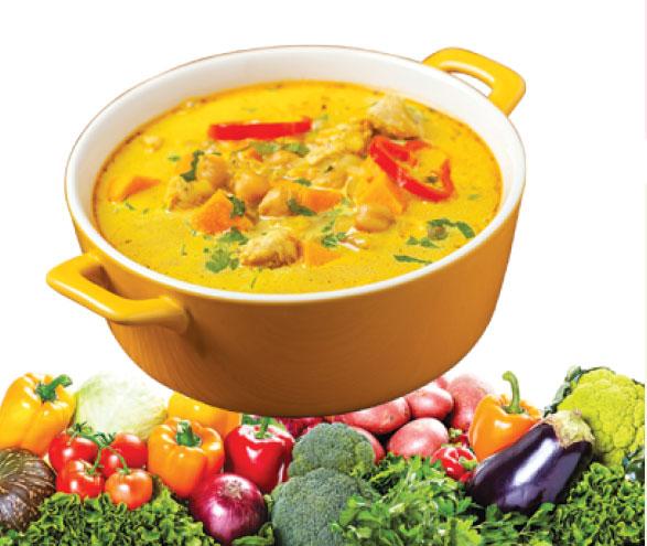 冷凍蔬菜加入咖喱中非常適合。