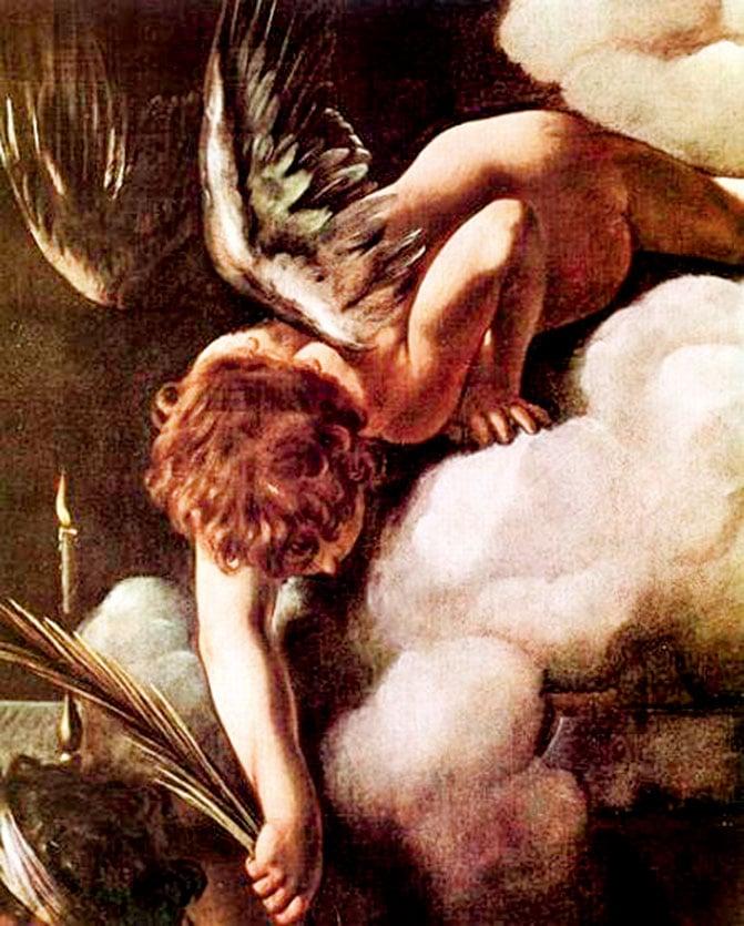 《聖馬太殉教》中的天使正將象徵勝利的棕櫚葉遞給聖馬太。《聖馬太殉教》局部。(公有領域)