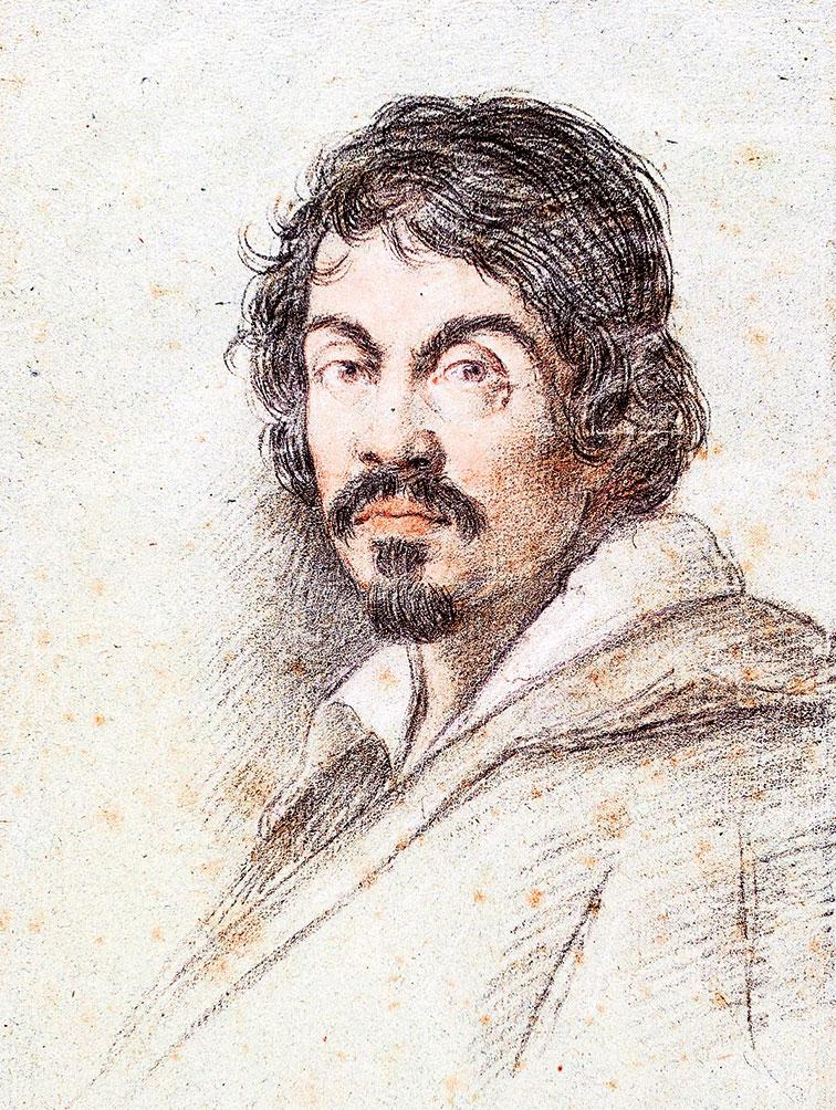 《卡拉瓦喬像》,奧塔維奧萊奧尼(Ottavio Leoni)約1621年繪。(公有領域)